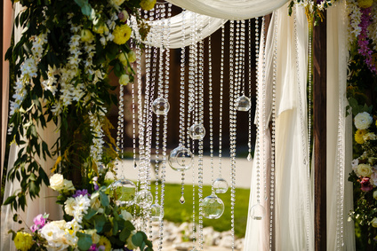 Glass sphere with candle inside. Beautiful wedding decoration.
