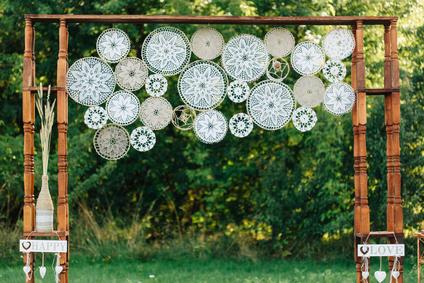 Wedding boho decorated photozone
