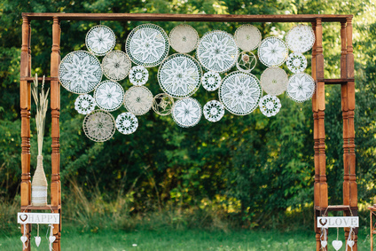 Wedding boho decorated photozone